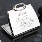 Personalised Crystal Handbag Compact Mirror