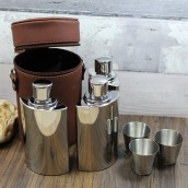 Genuine Brown Leather Trio Hip Flask Case