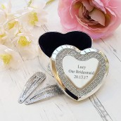 Silver Plated Heart Trinket Box with Crystal Inlay