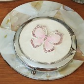 Silver Plated Clear Crystal Butterfly Compact Mirror