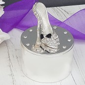 Silver Plated Clear Crystal Shoes Trinket Box