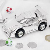 Personalised Silver Plated Sports Car Money Box