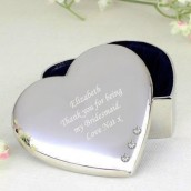 Engraved Silver Plated Crystal Heart Trinket Box
