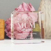 Personalised Mum Crystal Block