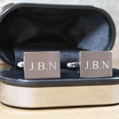 Engraved Silver Rectangle Cufflinks