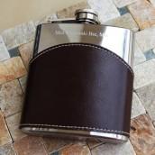 Engraved Brown Leather Wave Hip Flask