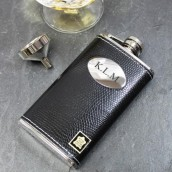 Engraved Black Leather Slimline Hip Flask
