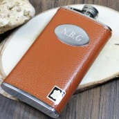 Engraved Brown Leather Slimline Hip Flask
