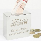 Engraved Square Money Box Train Design