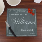 Personalised Glass Chopping Board - Chalk Board