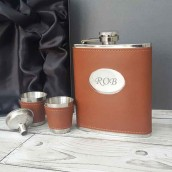 Engraved Hunters Brown Leather Hip Flask Set
