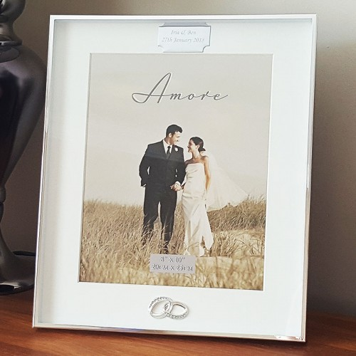 Engraved Silver Plated 10x8 Wedding Crystal Photo Frame