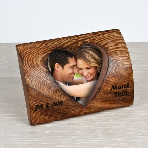 Personalised Wooden Heart Aperture Photo Frame