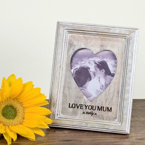 Personalised Heart Shaped Wooden Photo Frame