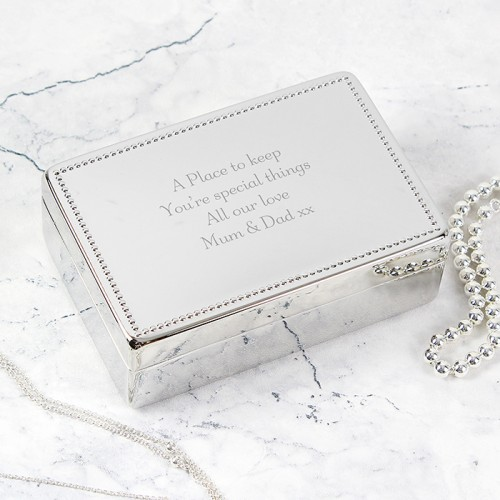 Silver Plated Rectangular Jewellery Box