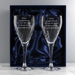 engraved crystal wine glasses gift set