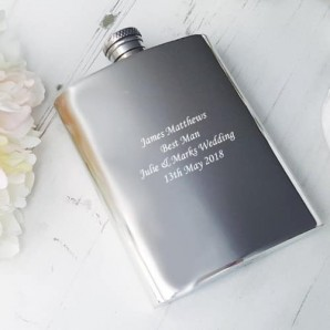 engraved pewter hip flask