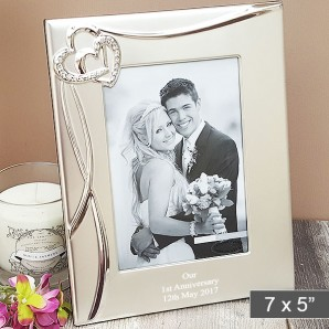 personalised crystal heart photo frame