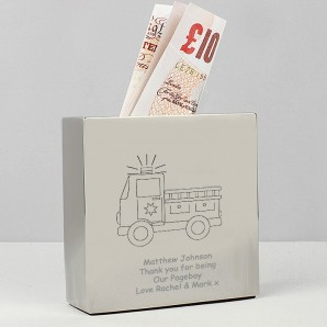 engraved fire engine money box