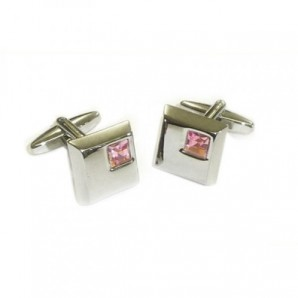 silver cufflinks with pink crystals