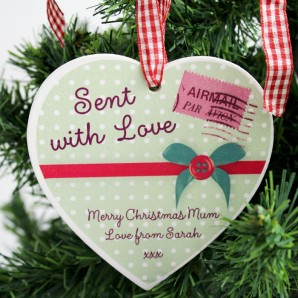 personalised hanging heart decoration