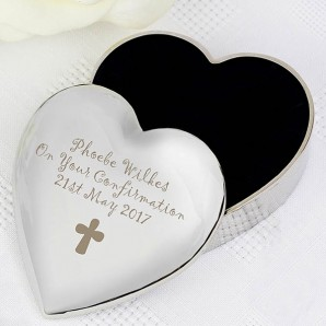 Engraved Cross Christening trinket box