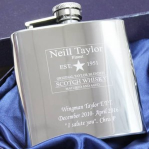 engraved whiskey hip flask