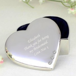 Personalised heart shaped crystal trinket box