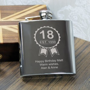 personalised birthday engraved hip flask