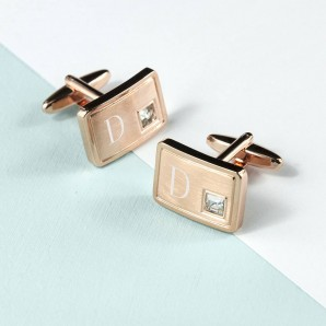 engraved rose gold cufflinks