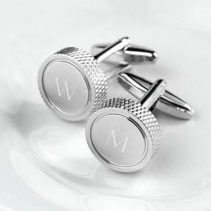 engraved beaded rim silver cufflinks