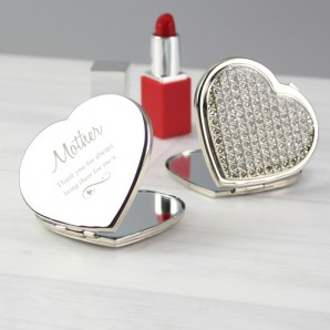 engraved heart crystal compact mirror