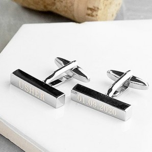 engraved silver bar cufflink
