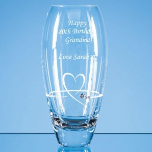 engraved crystal heart vase