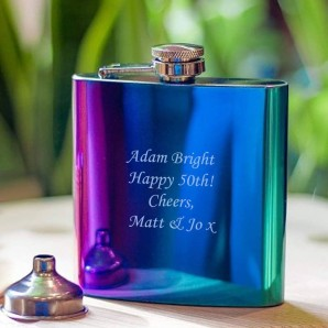 engraved rainbow flask