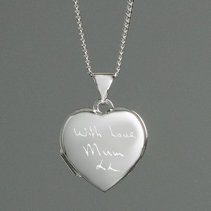 Engraved Handwriting Locket Necklace