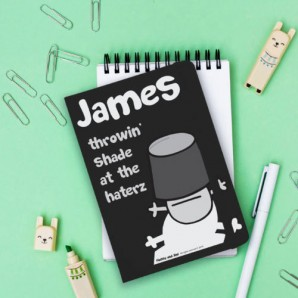 personalised black notebook
