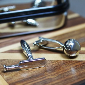 engraved cricket cufflinks