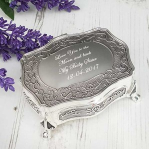 engraved silver antique trinket box