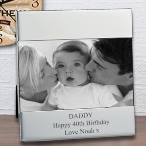 engraved landscape silver photo frame
