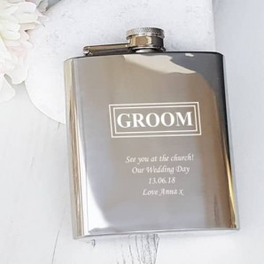 engraved groom hip flask