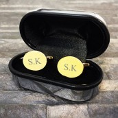 engraved gold oval cufflinks