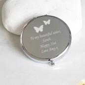 engraved handbag mirror