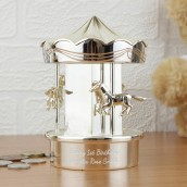 engraved carousel money box