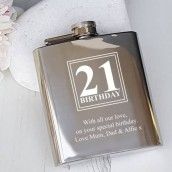 21st birthday engraved hip flask