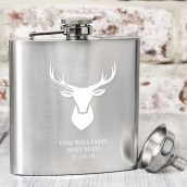 engraved stag hip flask