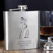 engraved golf hip flask