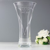 engraved crystal vase