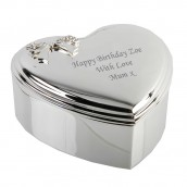 Silver Plated Heart Bow Jewellery Box