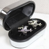 engraved fighter jet cufflinks